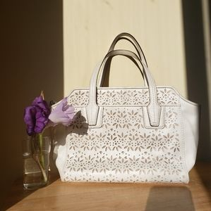 Laser Cut Leather Floral Hand Bag